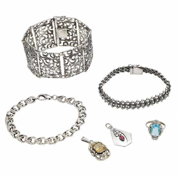 Jewelry mixed lot of 6 pieces, silver, - photo 1