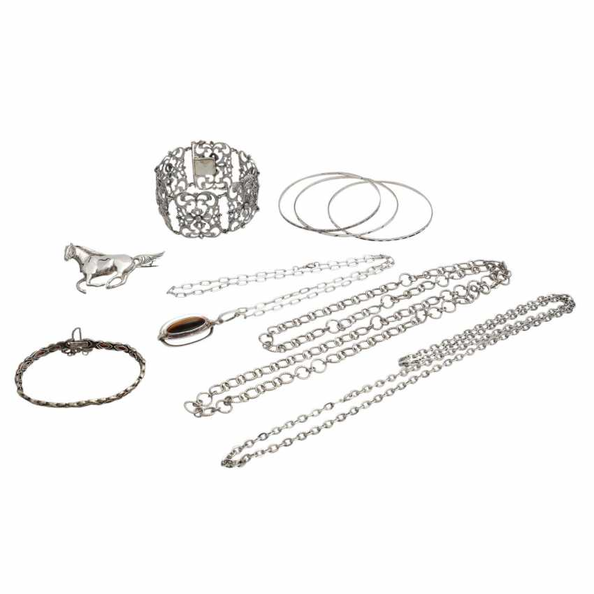 Jewelry mixed lot of 9 pieces, silver, - photo 1