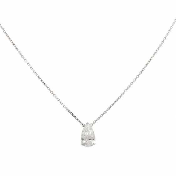 Solitaire necklace with diamond-pear-cut, approx 1.7 ct, WHITE (H)/VVS, - photo 2