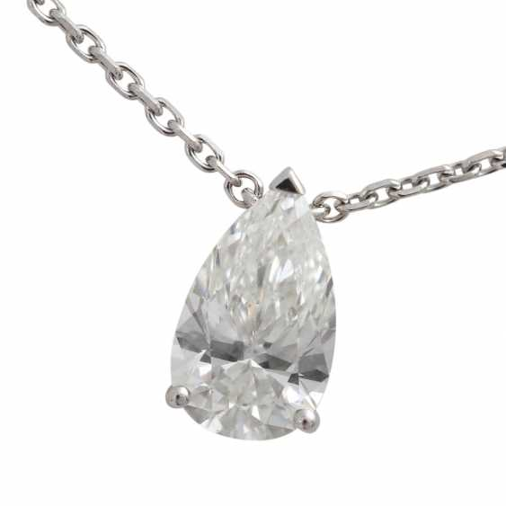 Solitaire necklace with diamond-pear-cut, approx 1.7 ct, WHITE (H)/VVS, - photo 5