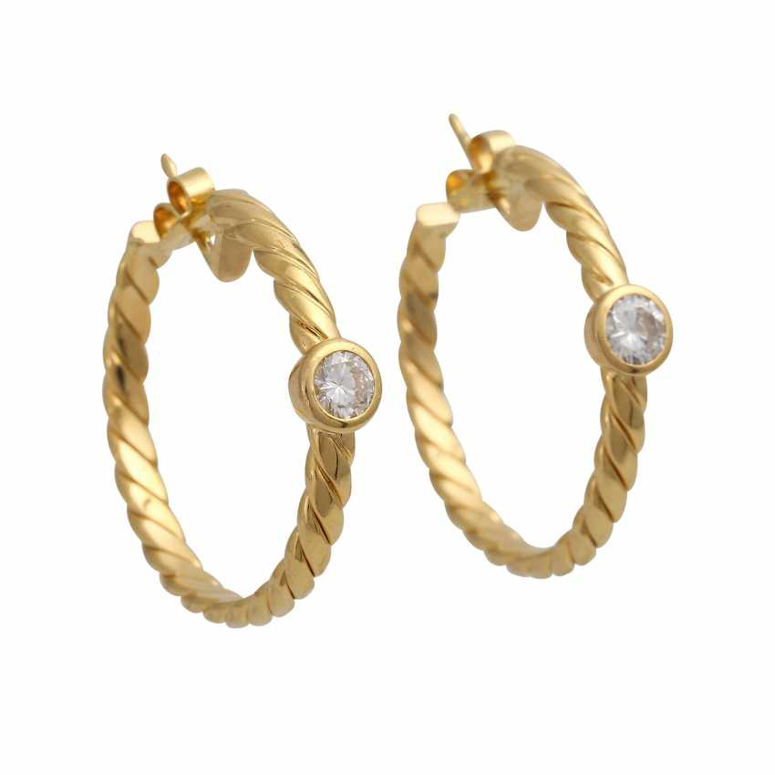 Plug-in earrings with 1 diamond of 0.3 ct - photo 1
