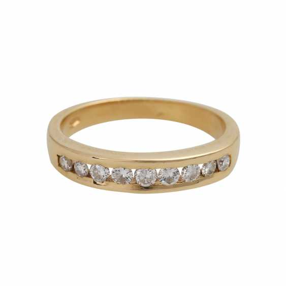 Ring with 9 brilliant-cut diamonds, together, approximately 0.3 ct, WHITE (H)/VS-SI - photo 1