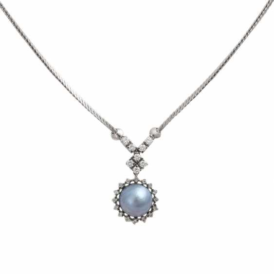 Necklace with 1 blue-and-grey-Mabéperle - photo 2