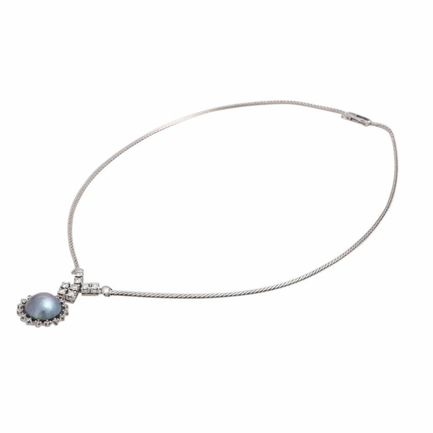 Necklace with 1 blue-and-grey-Mabéperle - photo 3