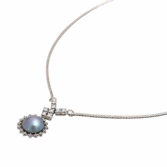 Necklace with 1 blue-and-grey-Mabéperle - photo 4