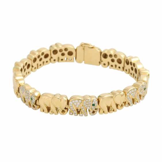 "Bracelet ""elephants"", of which 3 are bes. with 120 brilliant-cut diamonds, - photo 1"