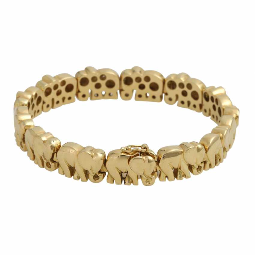 "Bracelet ""elephants"", of which 3 are bes. with 120 brilliant-cut diamonds, - photo 2"