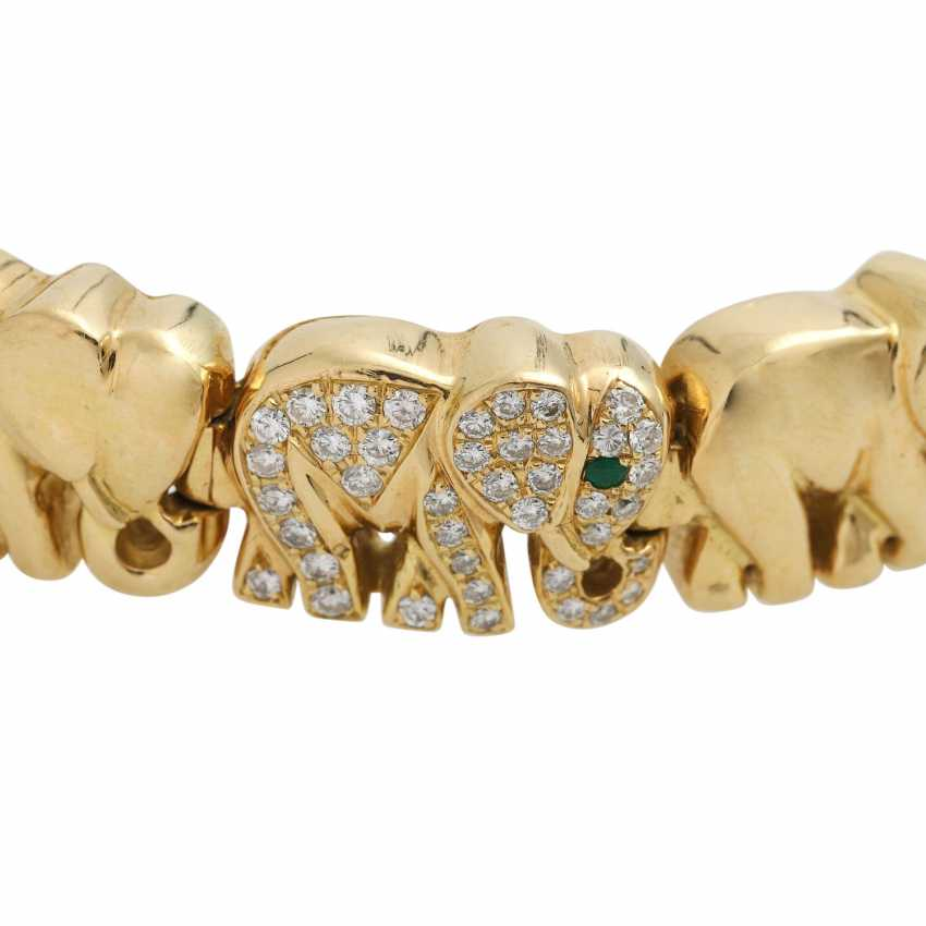 "Bracelet ""elephants"", of which 3 are bes. with 120 brilliant-cut diamonds, - photo 5"