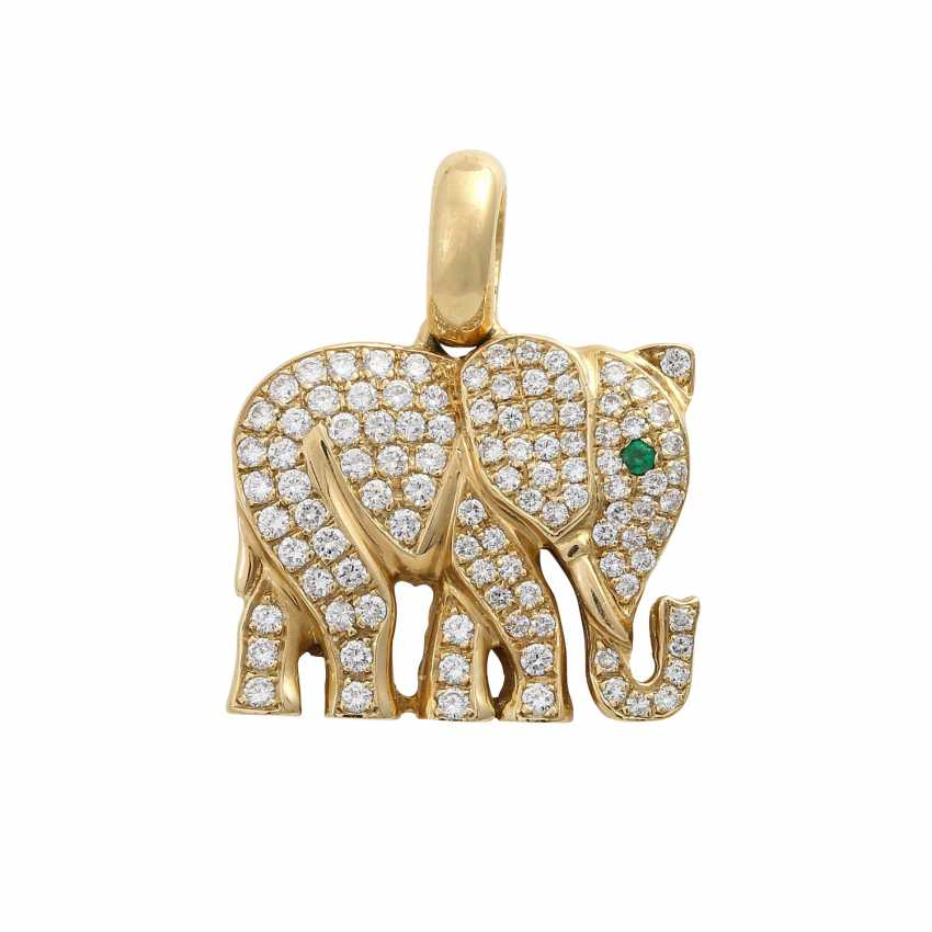 """Pendant """"elephant"""" paved with approximately 100 brilliant-cut diamonds, together CA. 0,9 ct, - photo 1"""