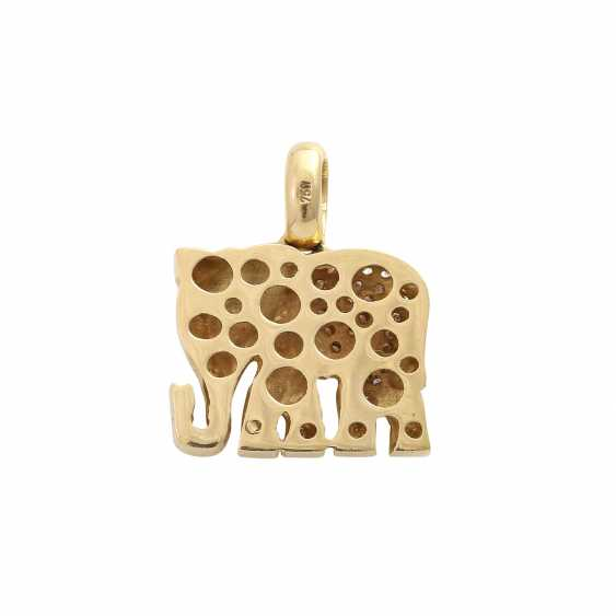 """Pendant """"elephant"""" paved with approximately 100 brilliant-cut diamonds, together CA. 0,9 ct, - photo 4"""