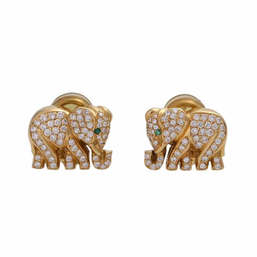 """Clip-on earrings """"elephant"""" bes. with 120 brilliant-cut diamonds, together approx 1.2 ct, - photo 1"""