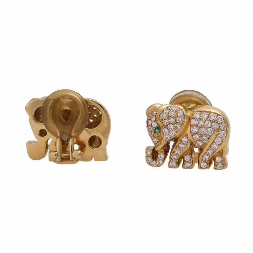 """Clip-on earrings """"elephant"""" bes. with 120 brilliant-cut diamonds, together approx 1.2 ct, - photo 3"""