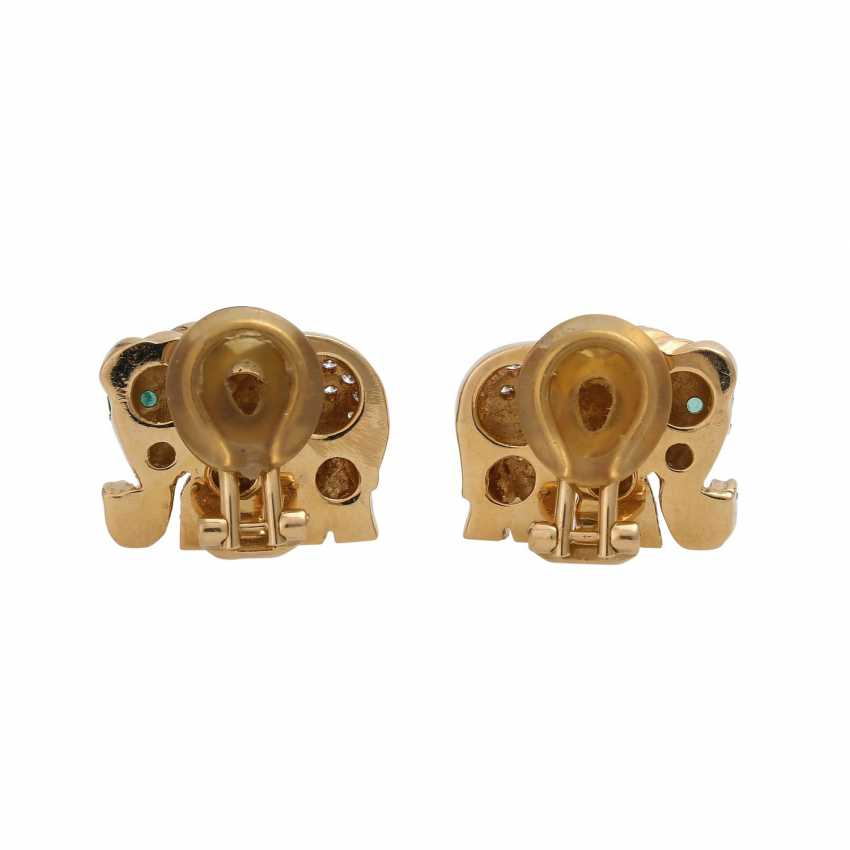 """Clip-on earrings """"elephant"""" bes. with 120 brilliant-cut diamonds, together approx 1.2 ct, - photo 4"""