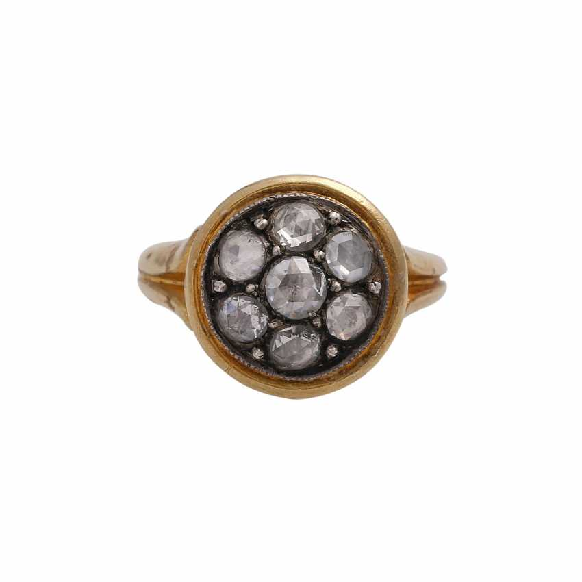 Ring with 7 rose cut diamonds, together approx 0,7 ct, - photo 1