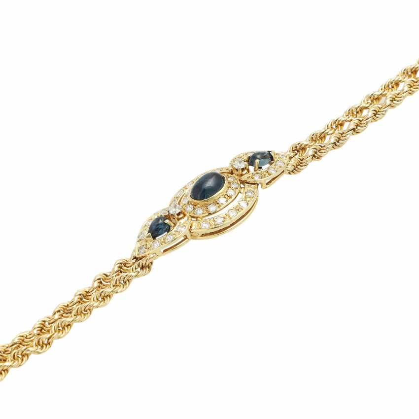 Bracelet with 3 sapphire cabochons and 38 octagonal diamonds, - photo 4