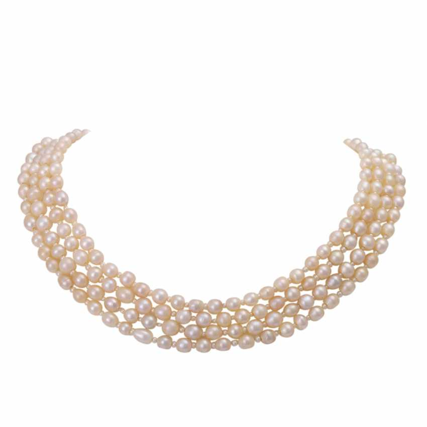 Rare Collier, 4-row, natural pearls, - photo 1