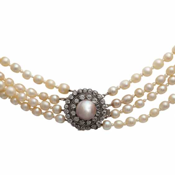 Rare Collier, 4-row, natural pearls, - photo 2