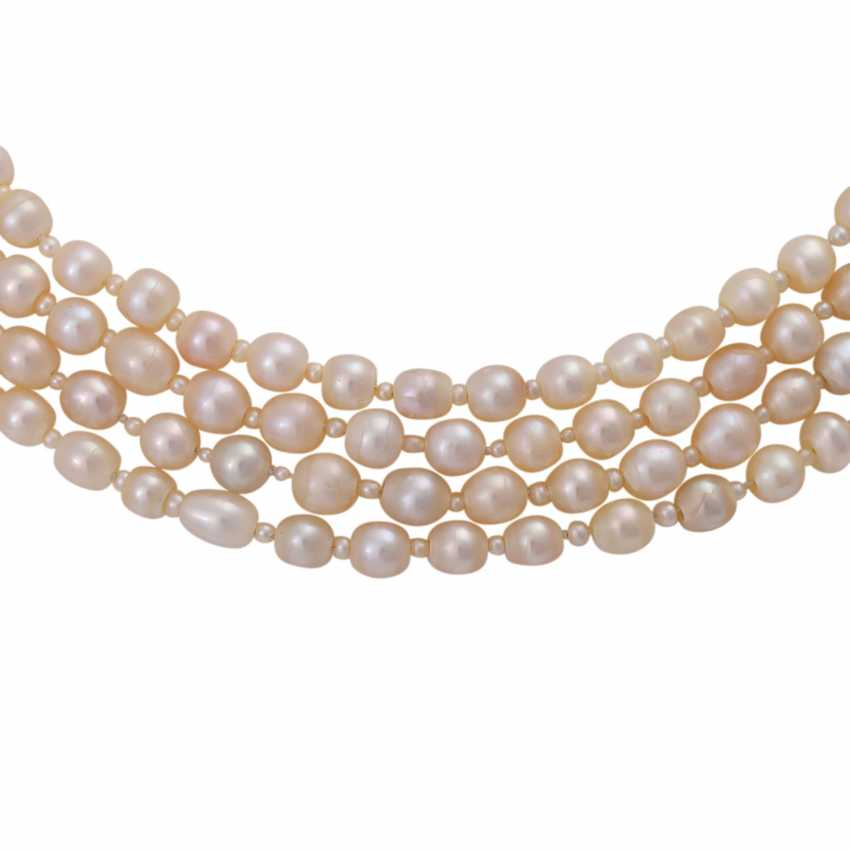 Rare Collier, 4-row, natural pearls, - photo 3