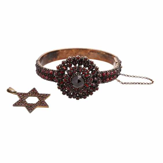 Vintage garnet jewelry 2-piece, - photo 1