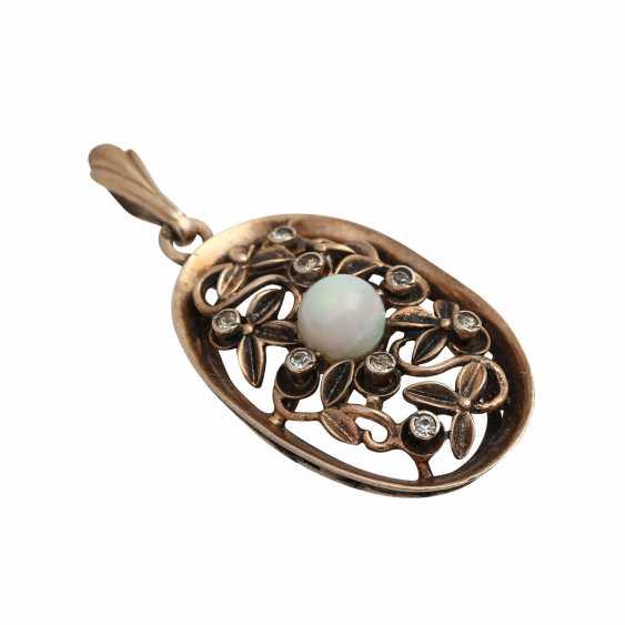 Mixed lot of 2 pendants with gemstones, - photo 3