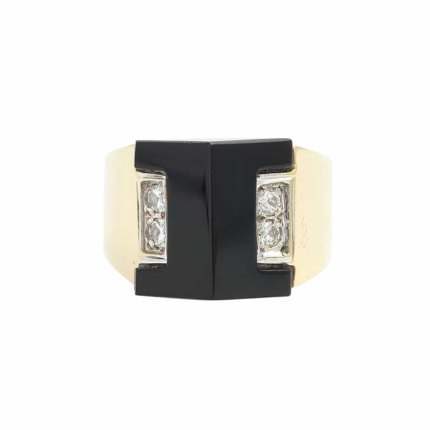 Ring with Onyx and diamonds - photo 1