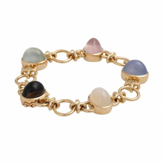 Bracelet with 5 oval quartz Cabochons in different colors, - photo 2