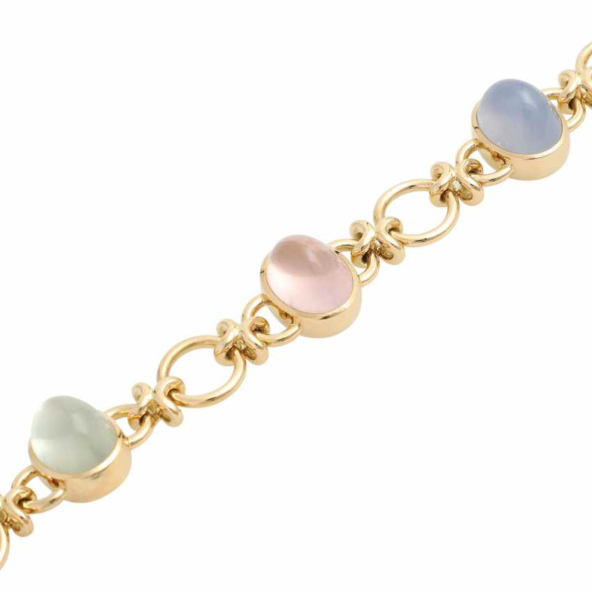Bracelet with 5 oval quartz Cabochons in different colors, - photo 4
