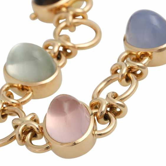 Bracelet with 5 oval quartz Cabochons in different colors, - photo 5
