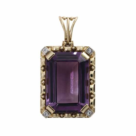 Pendants with octagonal Amethyst, about 25x17 mm, - photo 1