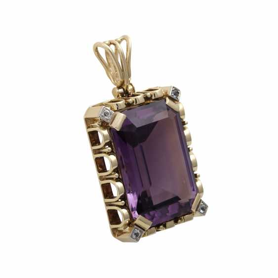 Pendants with octagonal Amethyst, about 25x17 mm, - photo 2