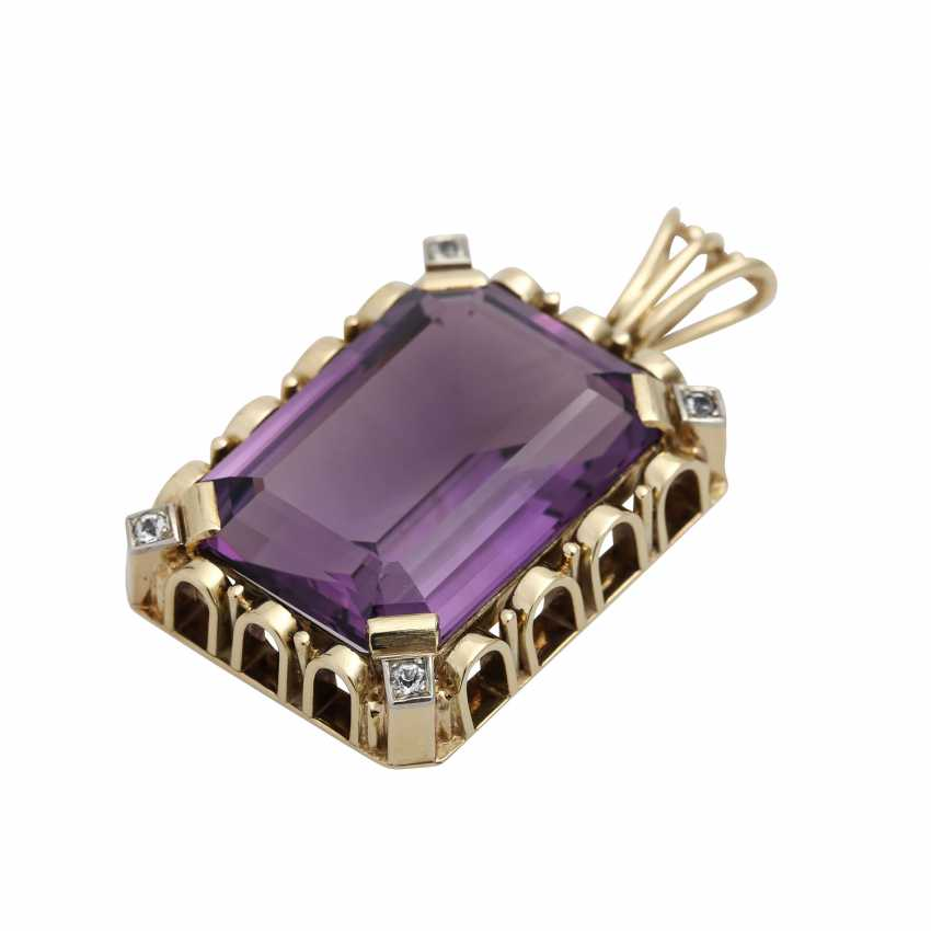 Pendants with octagonal Amethyst, about 25x17 mm, - photo 3