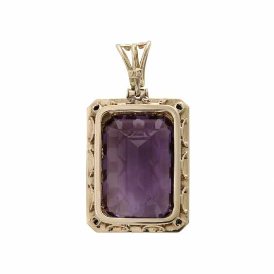 Pendants with octagonal Amethyst, about 25x17 mm, - photo 4