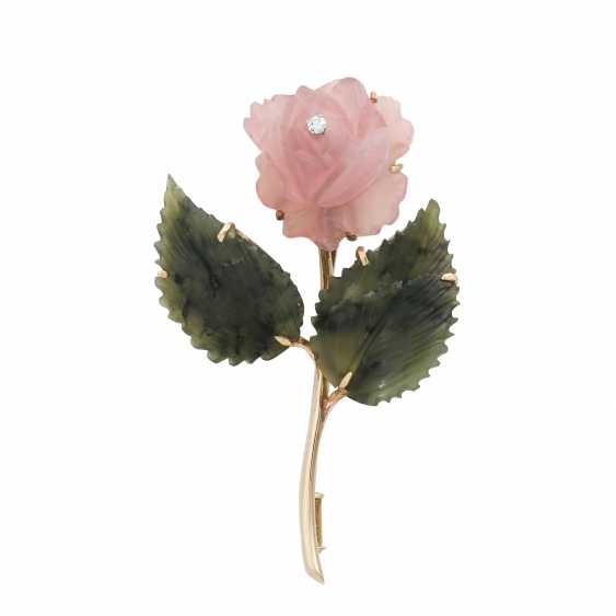 "Brooch ""Rose"" from the rose quartz and nephrite - photo 1"