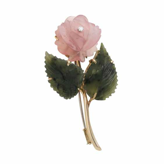 "Brooch ""Rose"" from the rose quartz and nephrite - photo 2"
