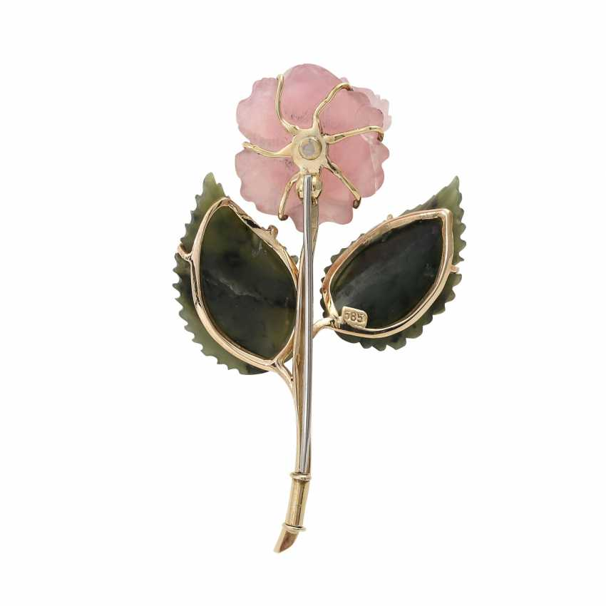 "Brooch ""Rose"" from the rose quartz and nephrite - photo 4"
