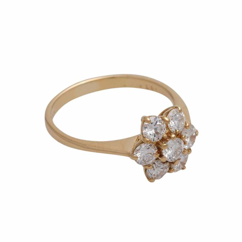 Ring with 7 brilliant-cut diamonds, together approx 0,97 ct (punz.), - photo 2
