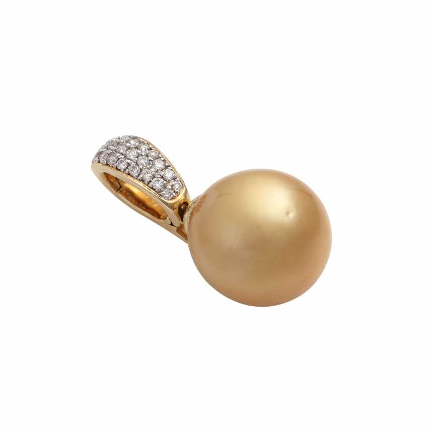 Clip pendant with gold-coloured South sea pearl - photo 3