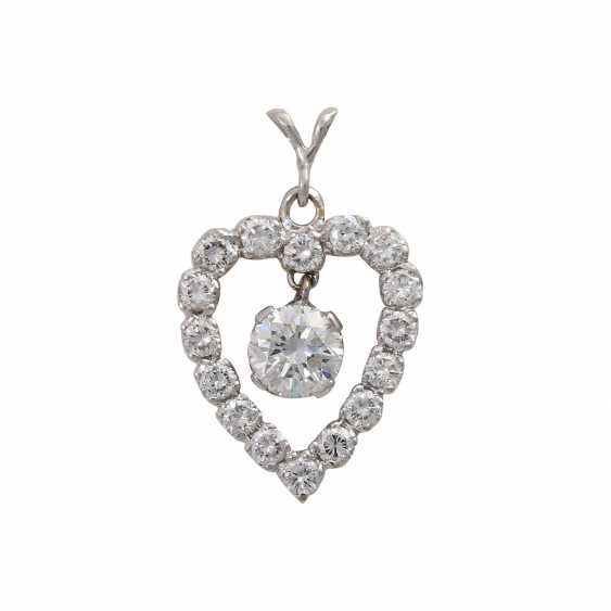 "Brilliant pendant ""heart"", in the middle hanging 1x approx 0,75 ct, - photo 1"