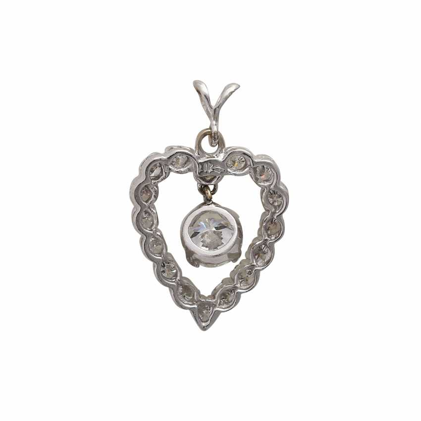 "Brilliant pendant ""heart"", in the middle hanging 1x approx 0,75 ct, - photo 4"