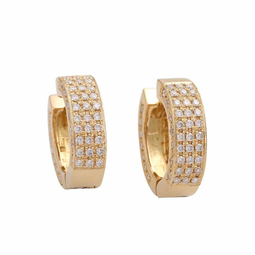 Hoop earrings set with 120 brilliant-cut diamonds, together approx 1.2 ct, - photo 1