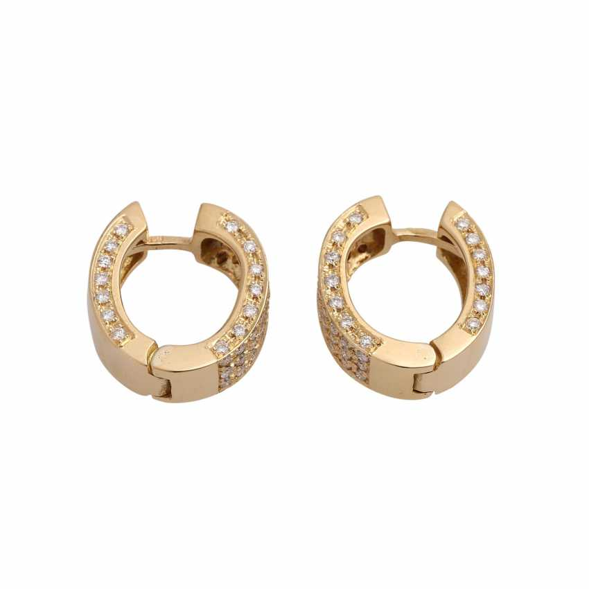 Hoop earrings set with 120 brilliant-cut diamonds, together approx 1.2 ct, - photo 2