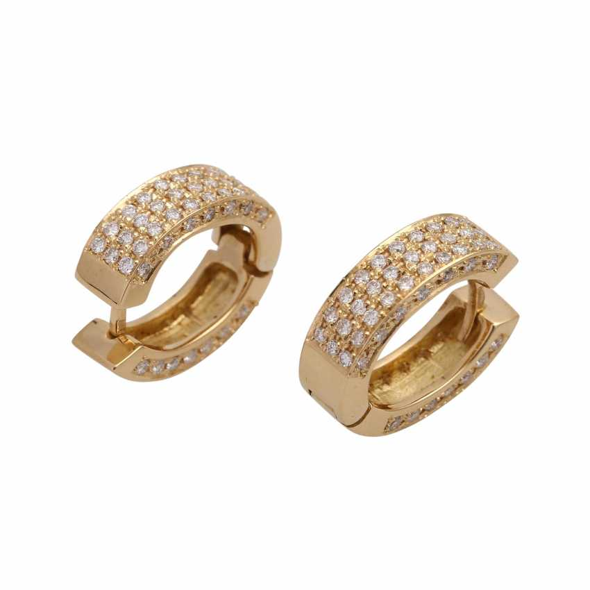 Hoop earrings set with 120 brilliant-cut diamonds, together approx 1.2 ct, - photo 3