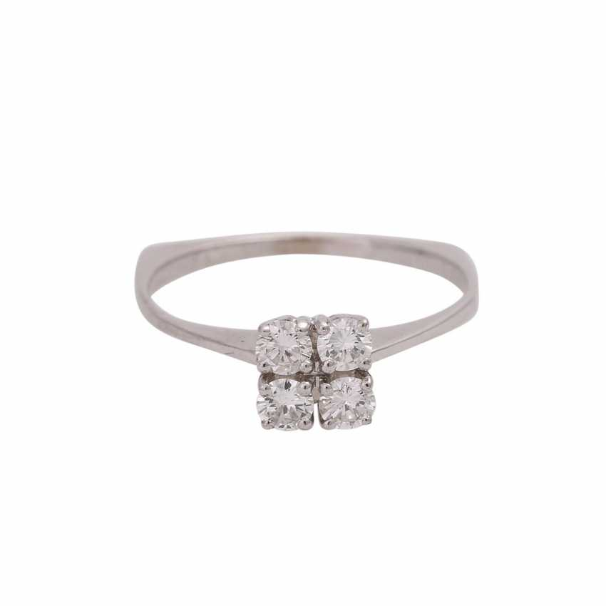 Ring with 4 brilliant-cut diamonds, together approx 0.4 ct, FW (G)/VS - photo 1
