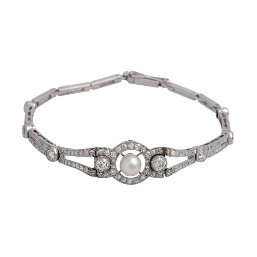 Bracelet bes. with 8 old European cut of approx 1.2 ct diamonds, together, - photo 1