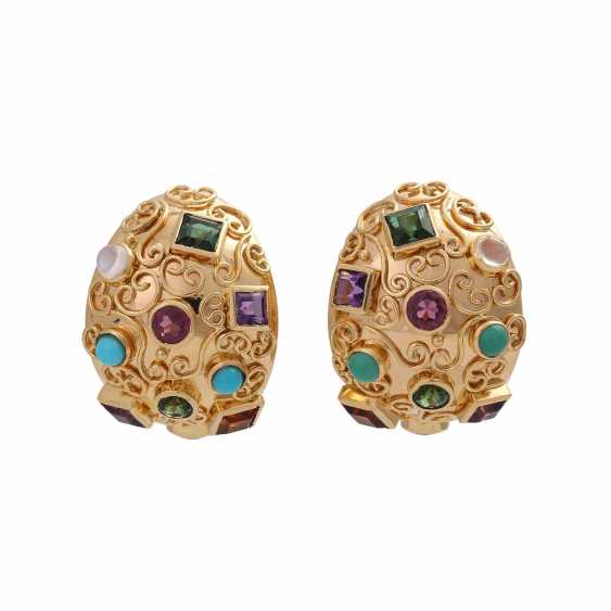 Clip-on earrings bes. with div. Precious stones, - photo 1