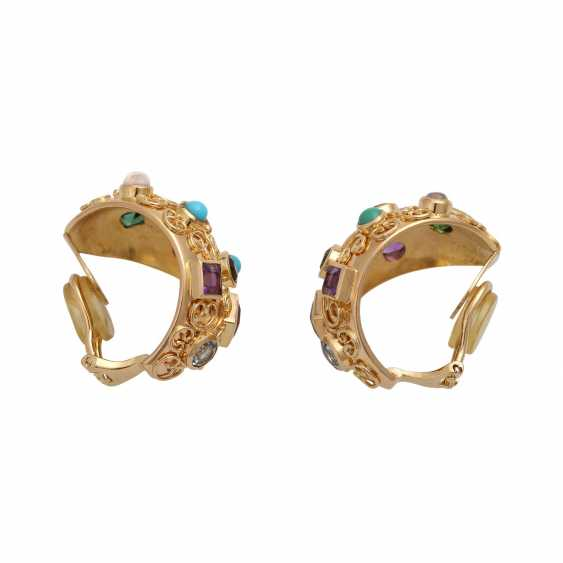 Clip-on earrings bes. with div. Precious stones, - photo 2