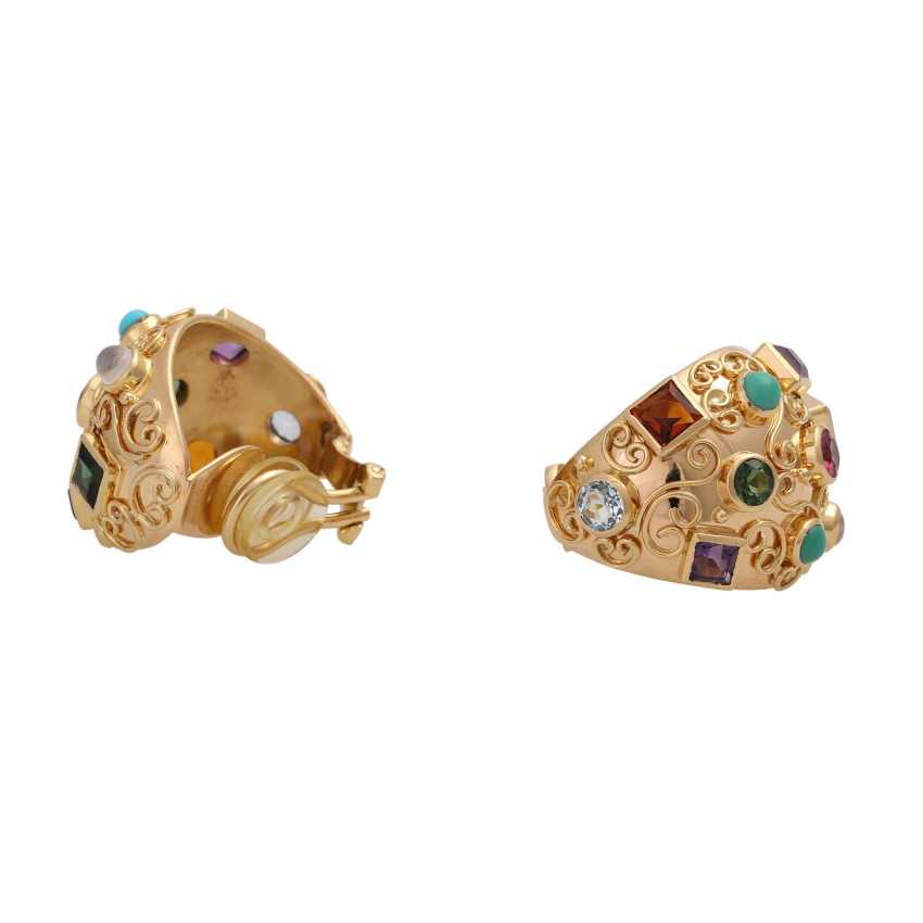 Clip-on earrings bes. with div. Precious stones, - photo 3