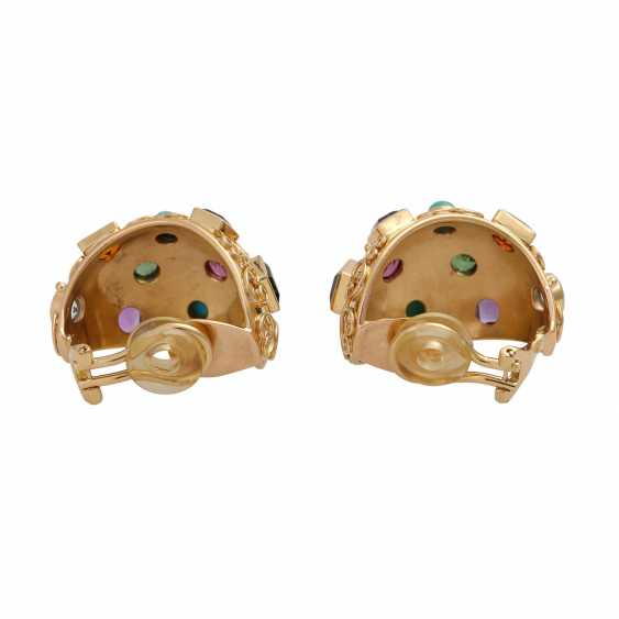 Clip-on earrings bes. with div. Precious stones, - photo 4