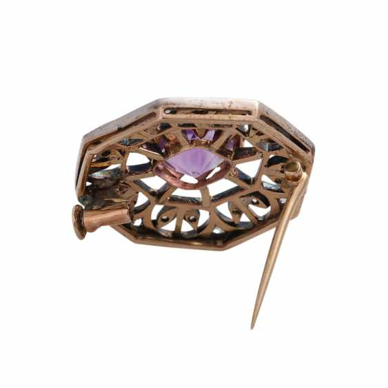 Brooch with Amethyst, approx. 3 ct and CL. Diamonds, - photo 4