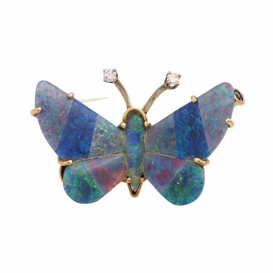 """Brooch """"butterfly"""" Opal triplets-mosaic, - photo 1"""